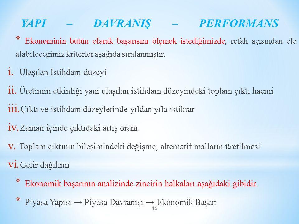 YAPI – DAVRANIŞ – PERFORMANS * Ekonominin bütün olarak başarısını ölçmek istediğimizde, refah açısından ele alabileceğimiz kriterler aşağıda sıralanmı