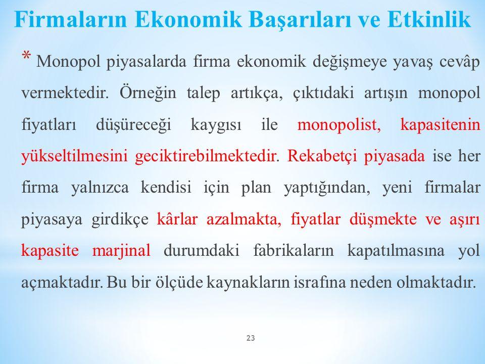 Firmaların Ekonomik Başarıları ve Etkinlik * Monopol piyasalarda firma ekonomik değişmeye yavaş cevâp vermektedir. Örneğin talep artıkça, çıktıdaki ar
