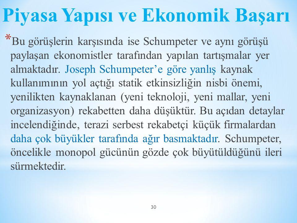 Piyasa Yapısı ve Ekonomik Başarı * Bu görüşlerin karşısında ise Schumpeter ve aynı görüşü paylaşan ekonomistler tarafından yapılan tartışmalar yer alm