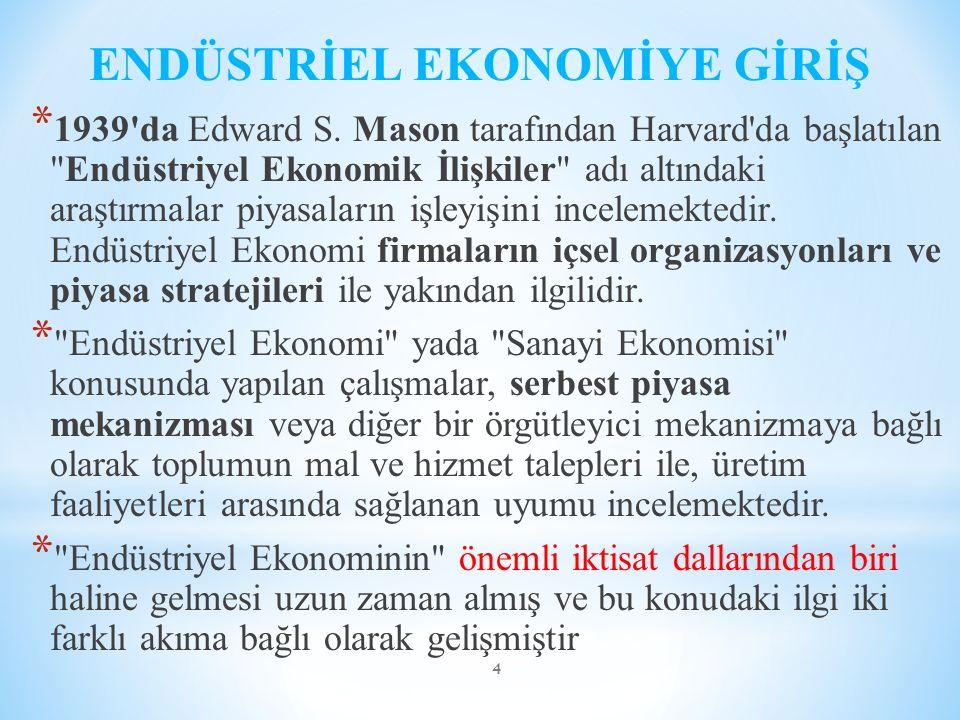 ENDÜSTRİEL EKONOMİYE GİRİŞ * 1939'da Edward S. Mason tarafından Harvard'da başlatılan