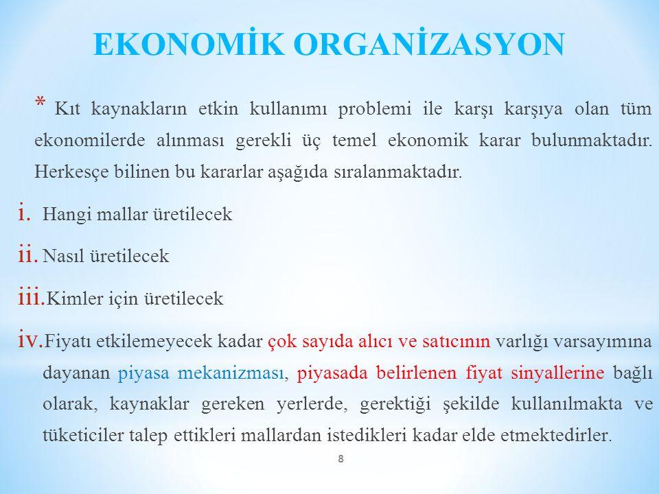 EKONOMİK ORGANİZASYON * Kıt kaynakların etkin kullanımı problemi ile karşı karşıya olan tüm ekonomilerde alınması gerekli üç temel ekonomik karar bulu