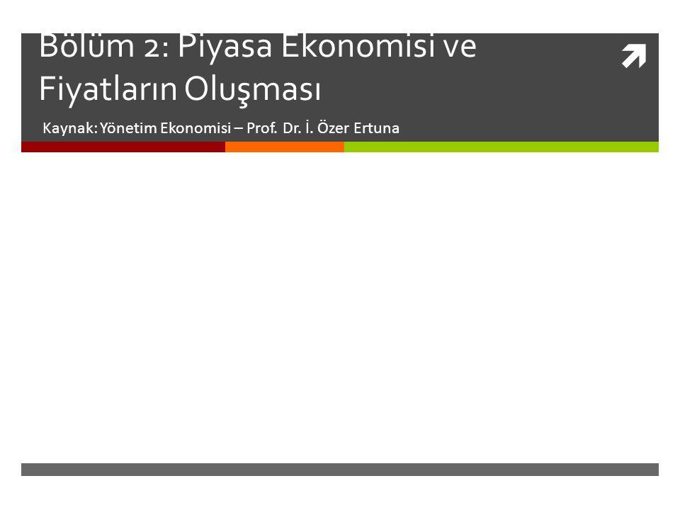  Bölüm 2: Piyasa Ekonomisi ve Fiyatların Oluşması Kaynak: Yönetim Ekonomisi – Prof.