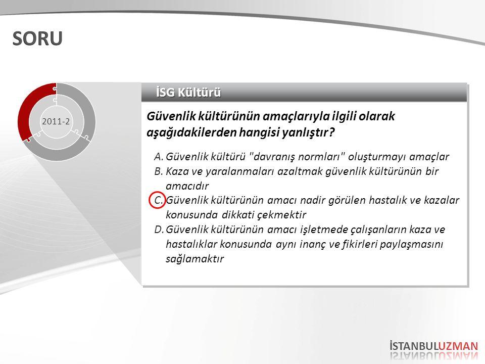 İSG Kültürü İşletmelerde iş sağlığı ve güvenliği kültürünün oluşmasıyla ilgili olarak aşağıdakilerden hangisi yanlıştır.
