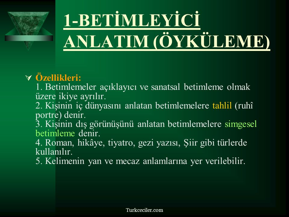Turkceciler.com ANLATIM TÜRLERİ 1.BETİMLEYİCİ ANLATIM 2.ÖYKÜLEYİCİ ANLATIM 3.COŞKU VE HEYECANA BAĞLI (LİRİK) ANLATIM 4.DESTANSI(EPİK)ANLATIM 5.EMREDİCİ ANLATIM 6.ÖĞRETİCİ ANLATIM 7.TARTIŞMACI ANLATIM 8.KANITLAYICI ANLATIM 9.DÜŞSEL (FANTASTİK) ANLATIM 10.GELECEKTEN SÖZ EDEN ANLATIM 11.SÖYLEŞMEYE BAĞLI ANLATIM (DİYALOG) 12.MİZAHİ ANLATIM