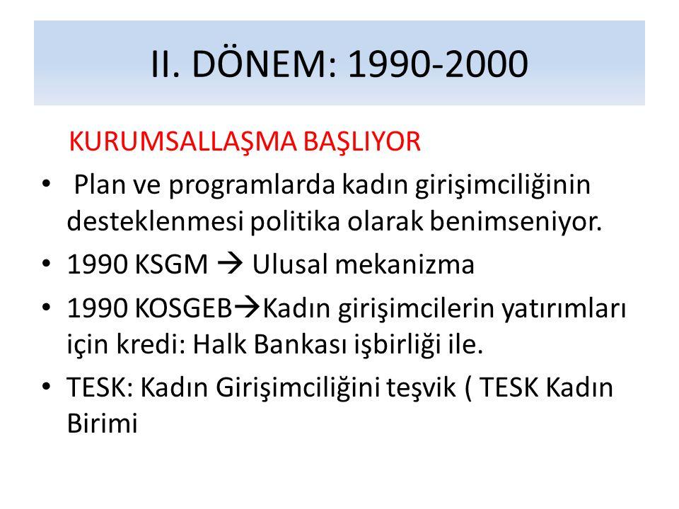 II. DÖNEM: 1990-2000 KURUMSALLAŞMA BAŞLIYOR Plan ve programlarda kadın girişimciliğinin desteklenmesi politika olarak benimseniyor. 1990 KSGM  Ulusal