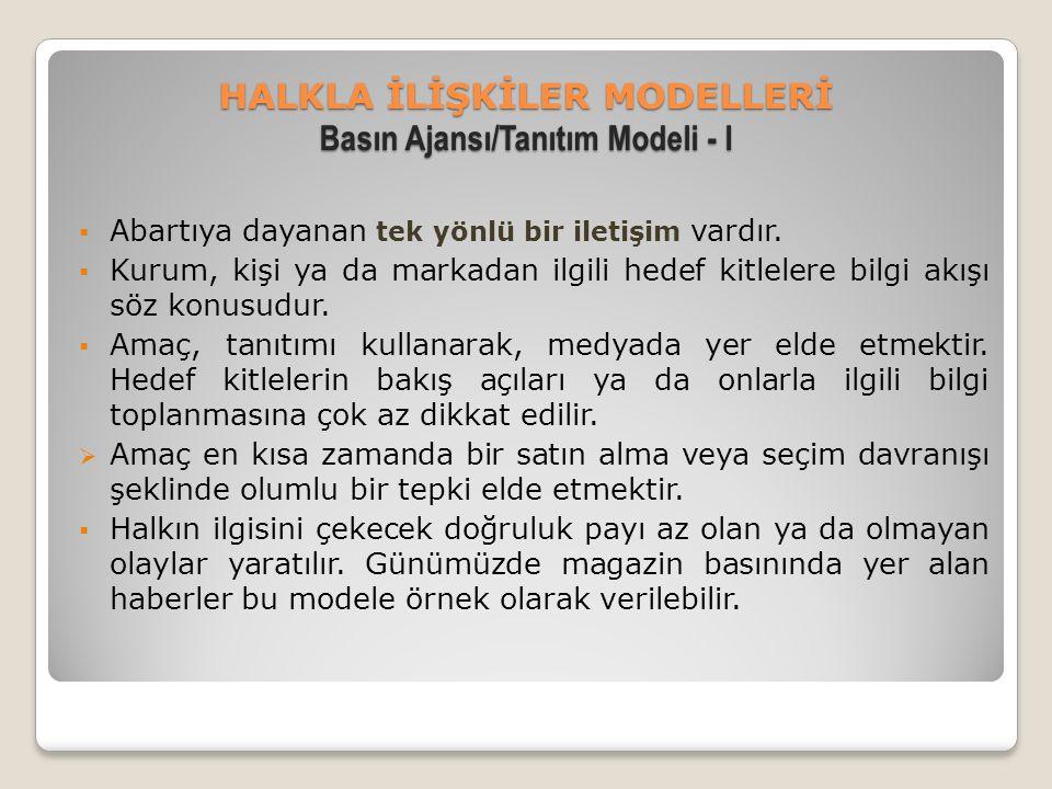 HALKLA İLİŞKİLER MODELLERİ Basın Ajansı/Tanıtım Modeli - I  Abartıya dayanan tek yönlü bir iletişim vardır.