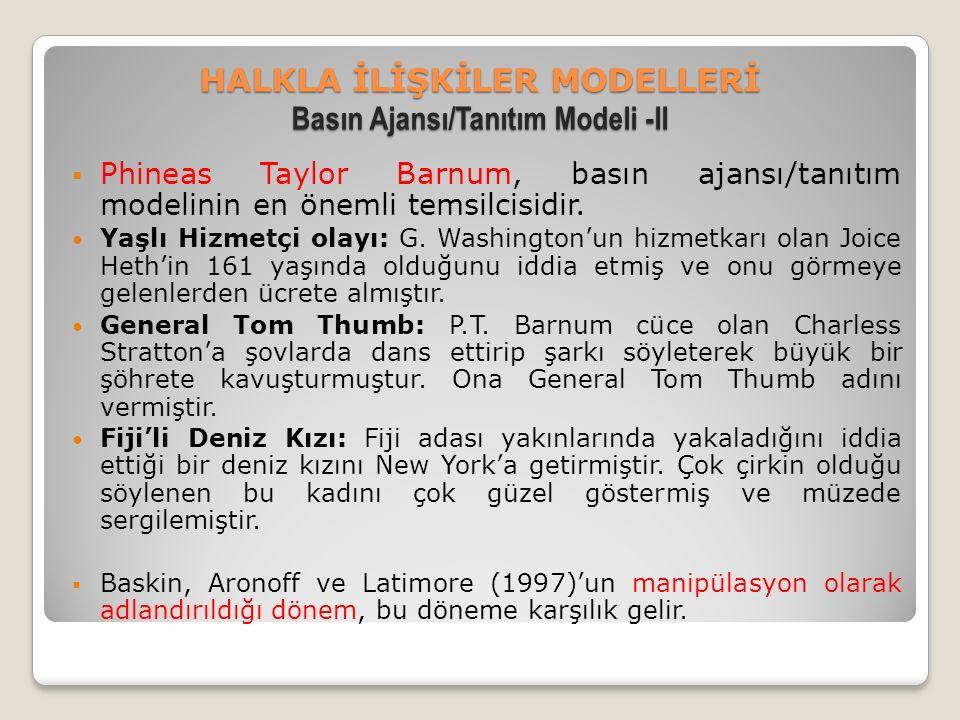 HALKLA İLİŞKİLER MODELLERİ Basın Ajansı/Tanıtım Modeli -II  Phineas Taylor Barnum, basın ajansı/tanıtım modelinin en önemli temsilcisidir.