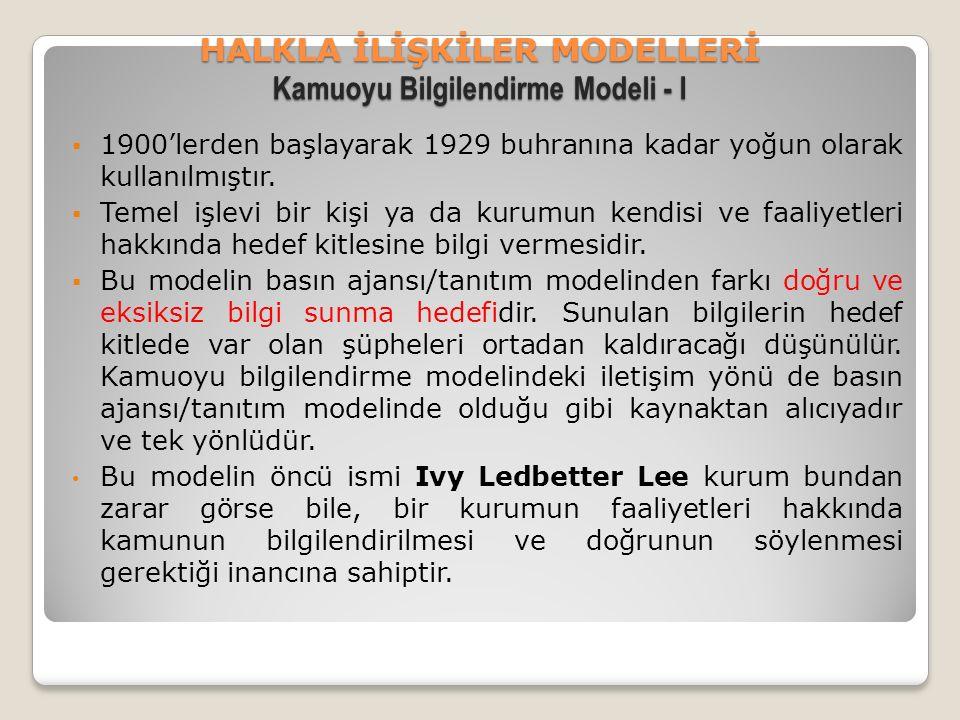 HALKLA İLİŞKİLER MODELLERİ Kamuoyu Bilgilendirme Modeli - I  1900'lerden başlayarak 1929 buhranına kadar yoğun olarak kullanılmıştır.  Temel işlevi