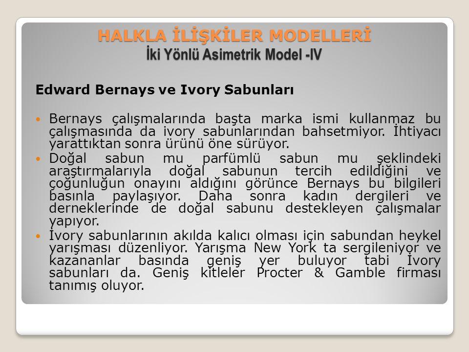HALKLA İLİŞKİLER MODELLERİ İki Yönlü Asimetrik Model -IV Edward Bernays ve Ivory Sabunları Bernays çalışmalarında başta marka ismi kullanmaz bu çalışmasında da ivory sabunlarından bahsetmiyor.