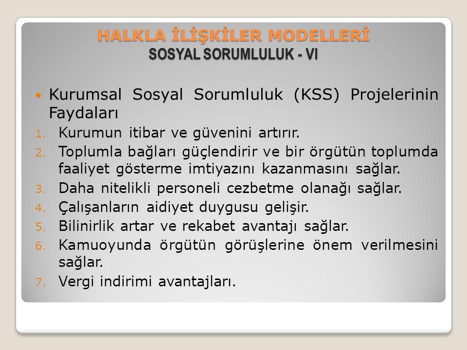 HALKLA İLİŞKİLER MODELLERİ SOSYAL SORUMLULUK - VI Kurumsal Sosyal Sorumluluk (KSS) Projelerinin Faydaları 1. Kurumun itibar ve güvenini artırır. 2. To