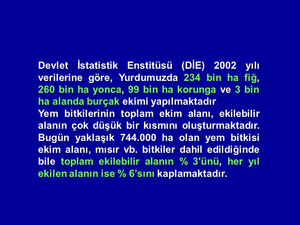 Devlet İstatistik Enstitüsü (DİE) 2002 yılı verilerine göre, Yurdumuzda 234 bin ha fiğ, 260 bin ha yonca, 99 bin ha korunga ve 3 bin ha alanda burçak