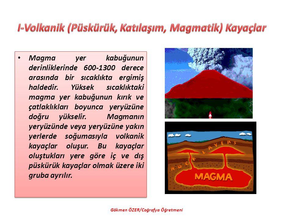 Magma yer kabuğunun derinliklerinde 600-1300 derece arasında bir sıcaklıkta ergimiş haldedir. Yüksek sıcaklıktaki magma yer kabuğunun kırık ve çatlakl