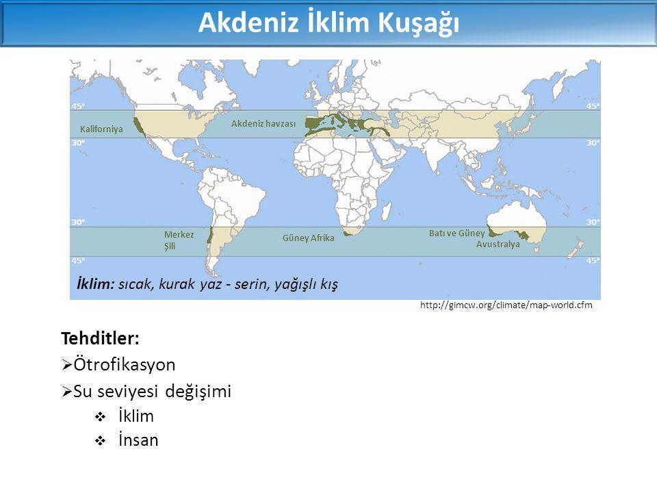 Tehditler:  Ötrofikasyon  Su seviyesi değişimi  İklim  İnsan Akdeniz İklim Kuşağı http://gimcw.org/climate/map-world.cfm İklim: sıcak, kurak yaz -