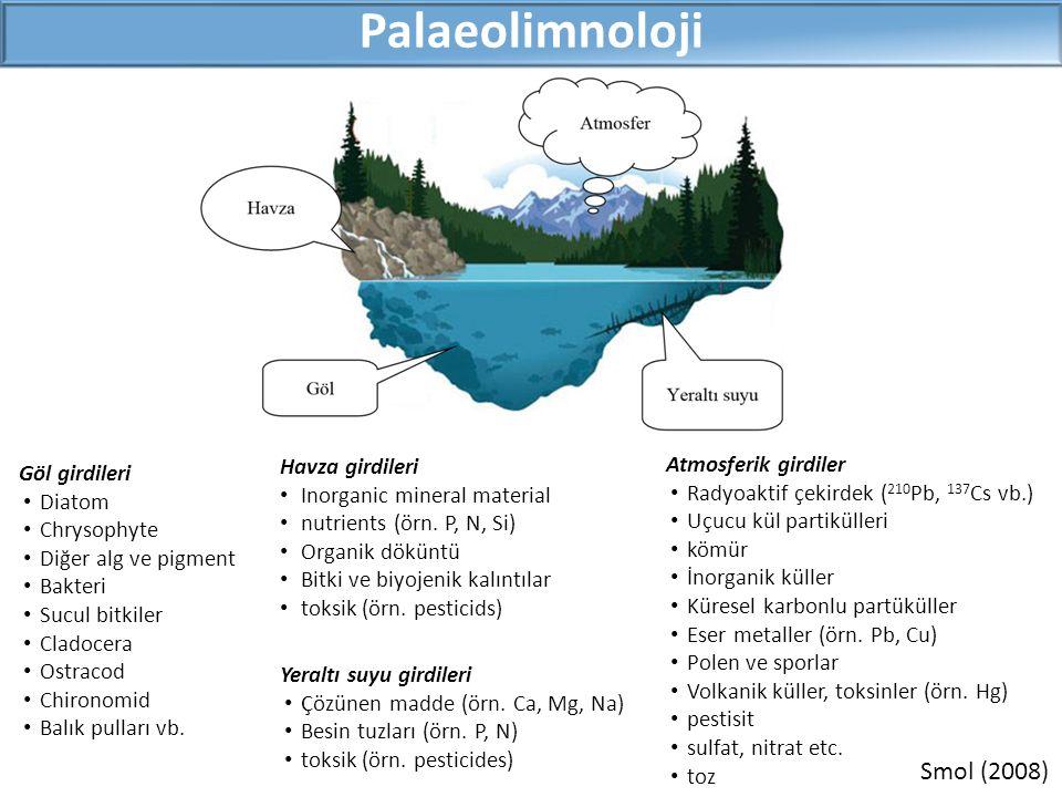 BelirteçlerUygulama Fiziksel Tane boyutuSedimanın karışması Kızdırma kaybı (LOI)Inorganik/organik içerik Kimyasal Kararlı izotoplarPalaeoiklim X-ışını floresans (XRF)Su seviyesi değişimi Biyolojik BitkiGeçmişteki bitki türleri, çevresel koşullar PigmentGeçmişteki alg grupları, çevresel koşullar CladoceraGeçmişteki Cladocera türleri, çevresel koşullar DiatomGeçmişteki diatom türleri, çevresel koşullar Palaeolimnoloji-Belirteçler Tane boyutu XRF Kararlı izotoplar Bitki Pigment Cladocera Diatom LOI