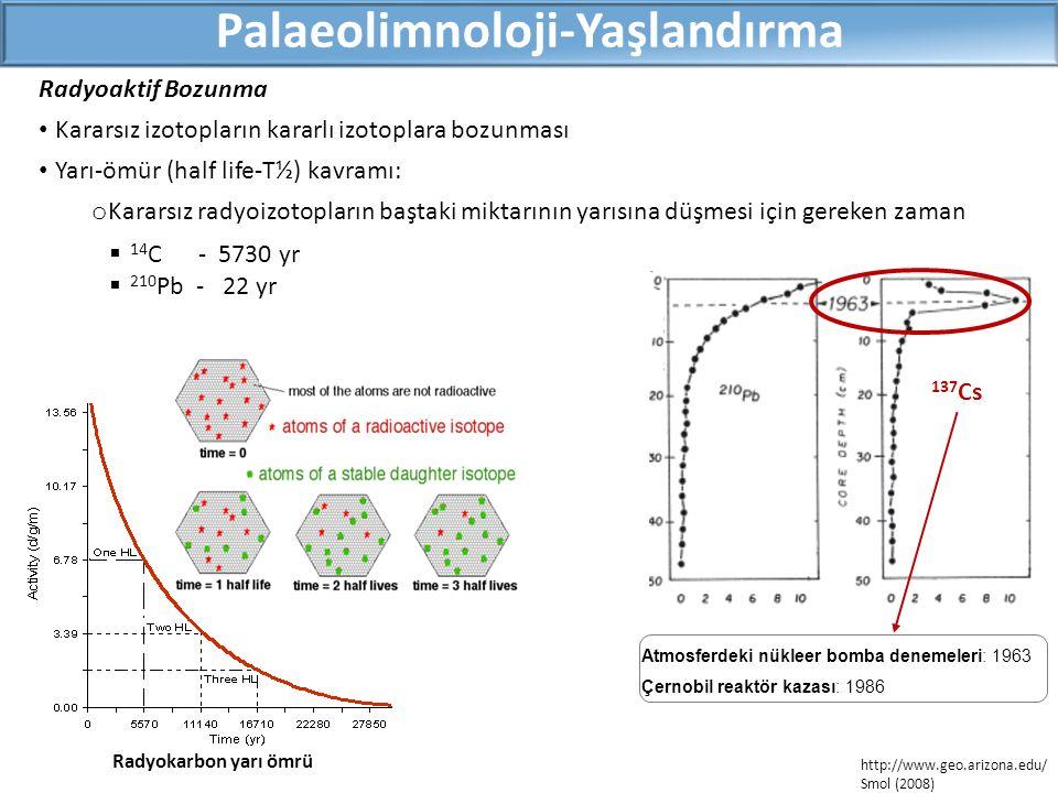  14 C - 5730 yr  210 Pb - 22 yr Radyoaktif Bozunma Kararsız izotopların kararlı izotoplara bozunması Yarı-ömür (half life-T½) kavramı: o Kararsız radyoizotopların baştaki miktarının yarısına düşmesi için gereken zaman Palaeolimnoloji-Yaşlandırma Radyokarbon yarı ömrü http://www.geo.arizona.edu/ Smol (2008) 137 Cs Atmosferdeki nükleer bomba denemeleri: 1963 Çernobil reaktör kazası: 1986