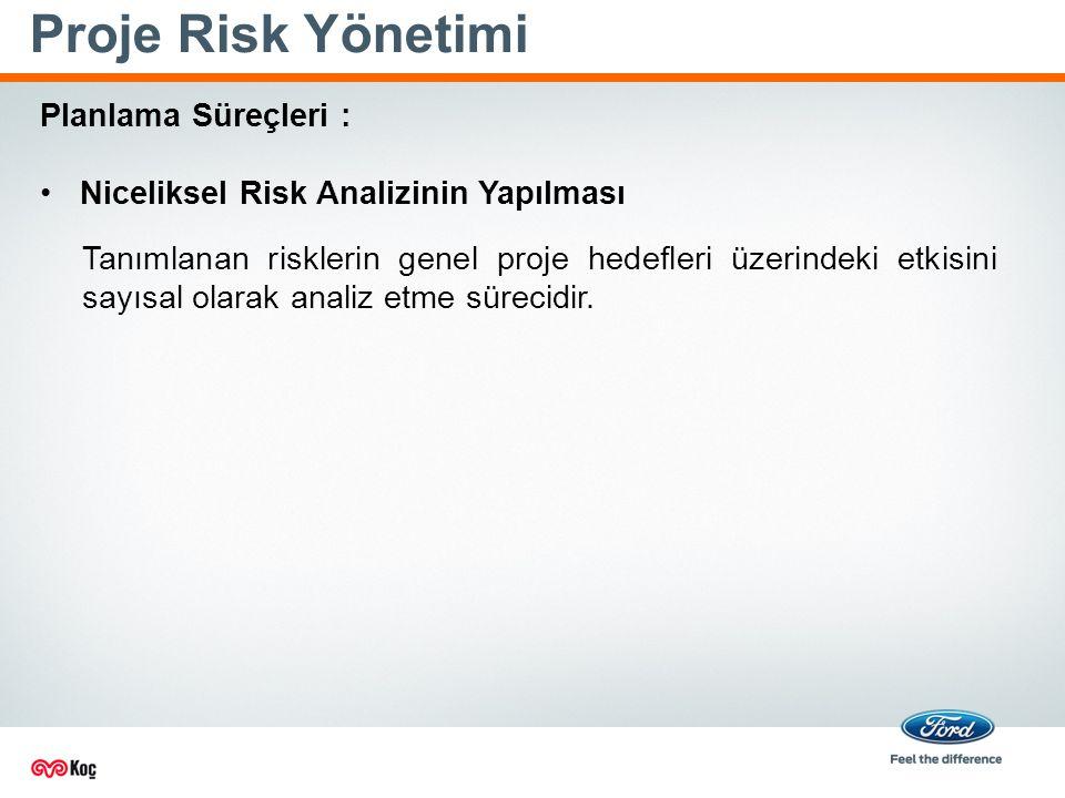 Proje Risk Yönetimi Planlama Süreçleri : Niceliksel Risk Analizinin Yapılması Tanımlanan risklerin genel proje hedefleri üzerindeki etkisini sayısal olarak analiz etme sürecidir.