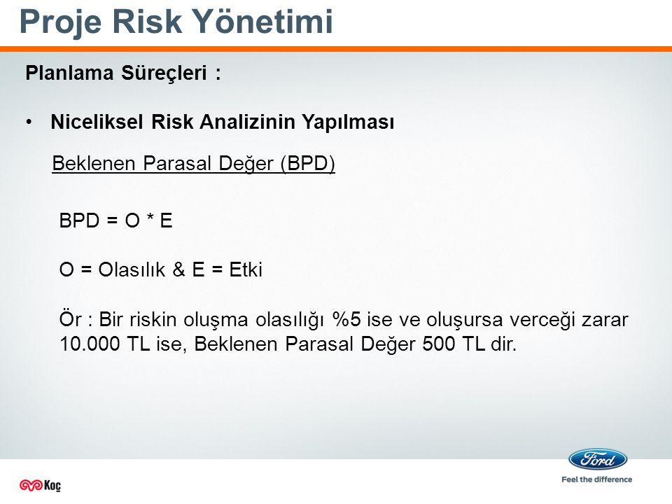 Proje Risk Yönetimi Planlama Süreçleri : Niceliksel Risk Analizinin Yapılması BPD = O * E O = Olasılık & E = Etki Ör : Bir riskin oluşma olasılığı %5 ise ve oluşursa verceği zarar 10.000 TL ise, Beklenen Parasal Değer 500 TL dir.