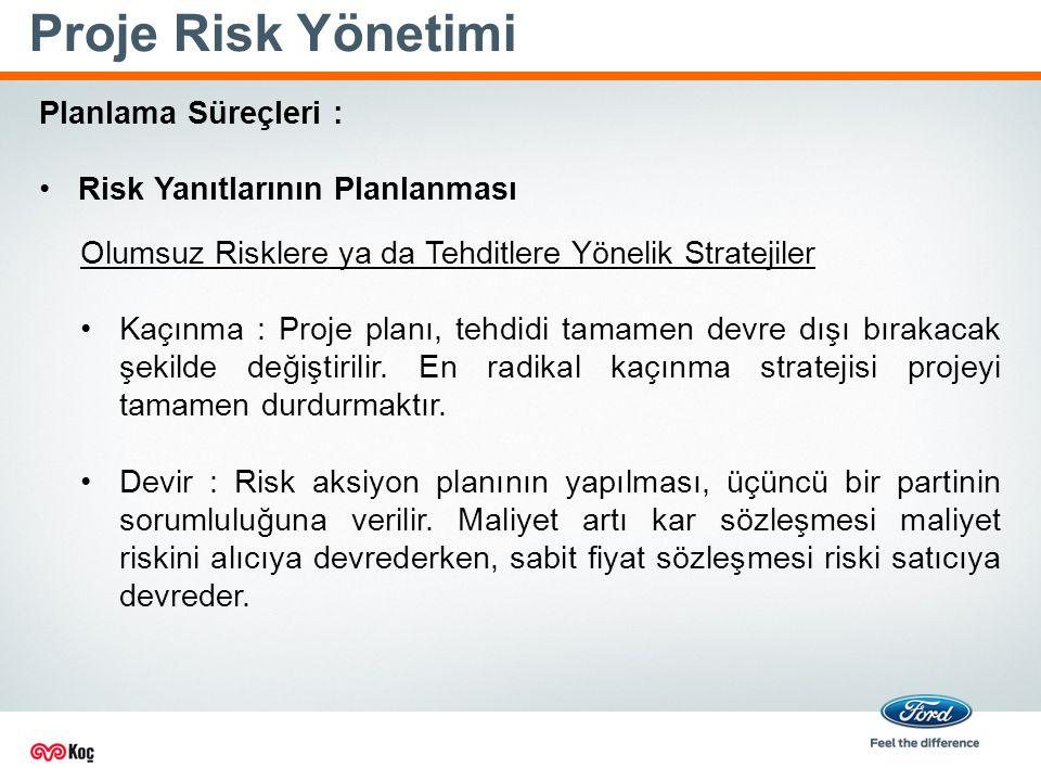 Proje Risk Yönetimi Planlama Süreçleri : Risk Yanıtlarının Planlanması Olumsuz Risklere ya da Tehditlere Yönelik Stratejiler Kaçınma : Proje planı, tehdidi tamamen devre dışı bırakacak şekilde değiştirilir.