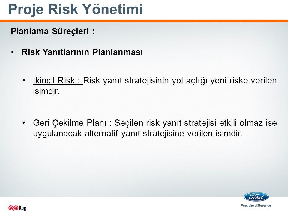 Proje Risk Yönetimi Planlama Süreçleri : Risk Yanıtlarının Planlanması İkincil Risk : Risk yanıt stratejisinin yol açtığı yeni riske verilen isimdir.
