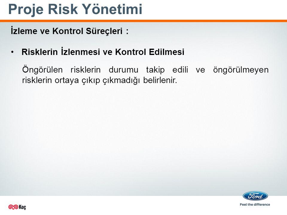 Proje Risk Yönetimi İzleme ve Kontrol Süreçleri : Risklerin İzlenmesi ve Kontrol Edilmesi Öngörülen risklerin durumu takip edili ve öngörülmeyen risklerin ortaya çıkıp çıkmadığı belirlenir.