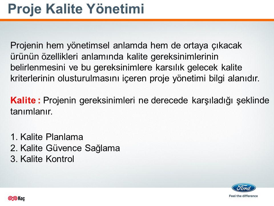 Proje Kalite Yönetimi Projenin hem yönetimsel anlamda hem de ortaya çıkacak ürünün özellikleri anlamında kalite gereksinimlerinin belirlenmesini ve bu gereksinimlere karsılık gelecek kalite kriterlerinin olusturulmasını içeren proje yönetimi bilgi alanıdır.