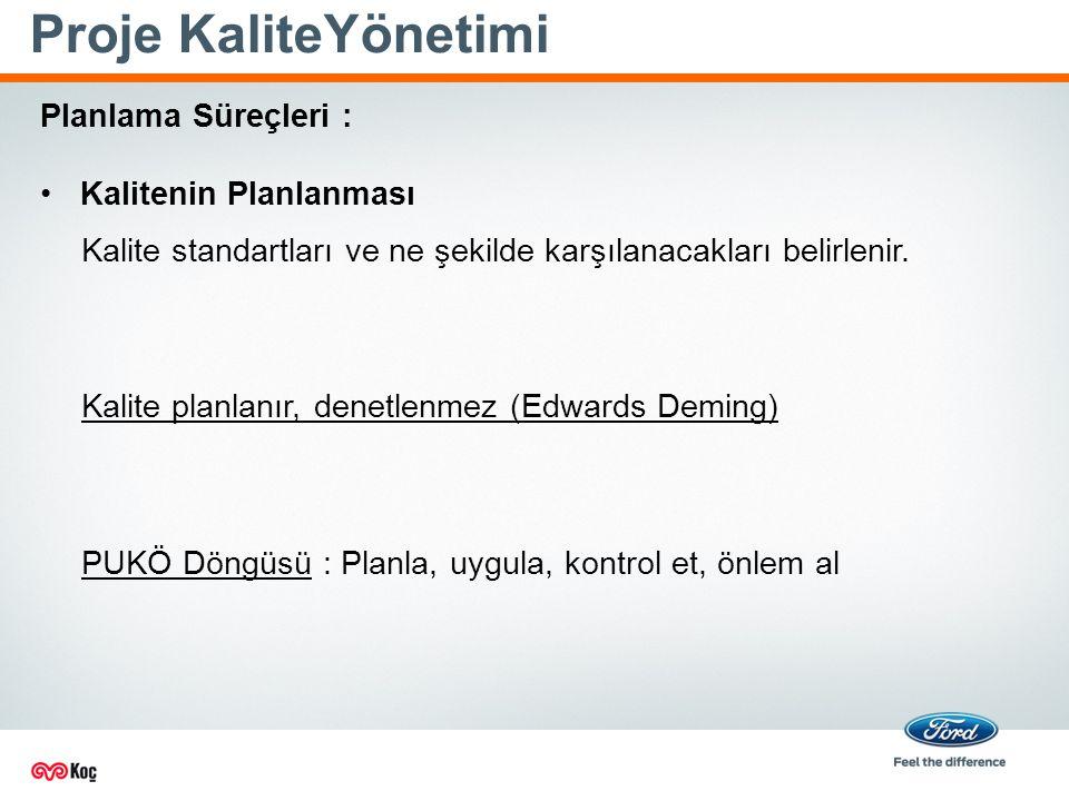 Proje KaliteYönetimi Kalite standartları ve ne şekilde karşılanacakları belirlenir.