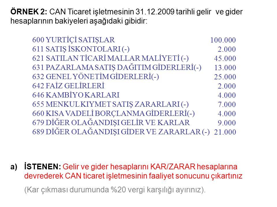 ÖRNEK 2: CAN Ticaret işletmesinin 31.12.2009 tarihli gelir ve gider hesaplarının bakiyeleri aşağıdaki gibidir: a)İSTENEN: Gelir ve gider hesaplarını KAR/ZARAR hesaplarına devrederek CAN ticaret işletmesinin faaliyet sonucunu çıkartınız (Kar çıkması durumunda %20 vergi karşılığı ayırınız).