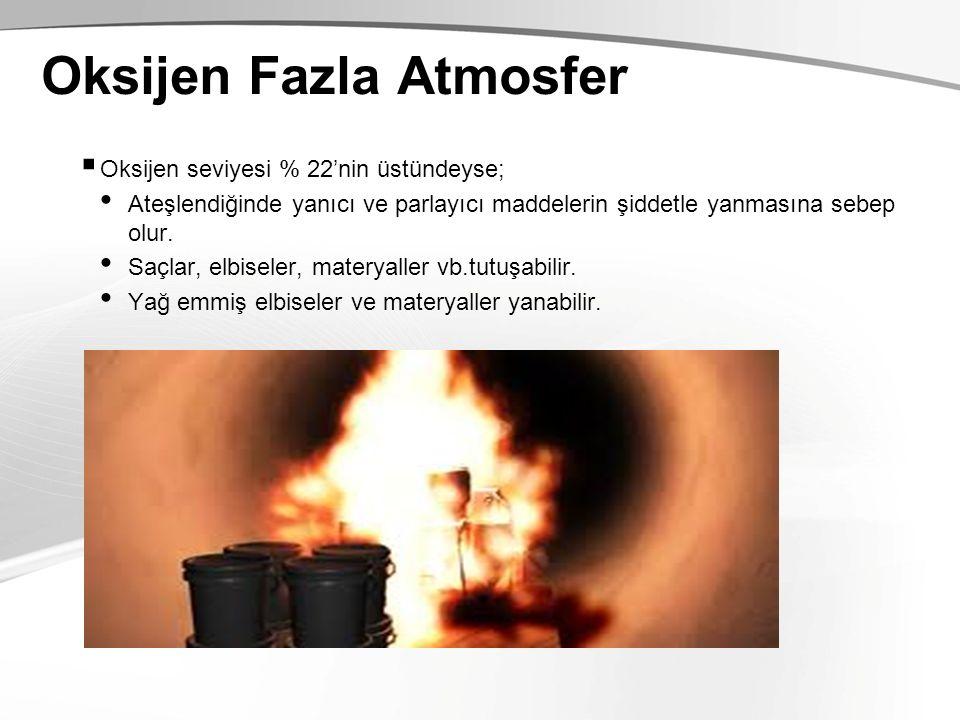 Oksijen Fazla Atmosfer  Oksijen seviyesi % 22'nin üstündeyse; Ateşlendiğinde yanıcı ve parlayıcı maddelerin şiddetle yanmasına sebep olur. Saçlar, el