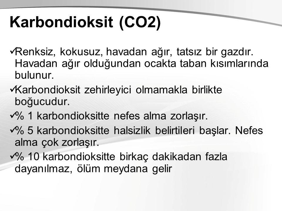Karbondioksit (CO2) Renksiz, kokusuz, havadan ağır, tatsız bir gazdır. Havadan ağır olduğundan ocakta taban kısımlarında bulunur. Karbondioksit zehirl