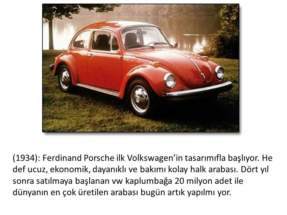 (1934): Ferdinand Porsche ilk Volkswagen'in tasarımıfla başlıyor.