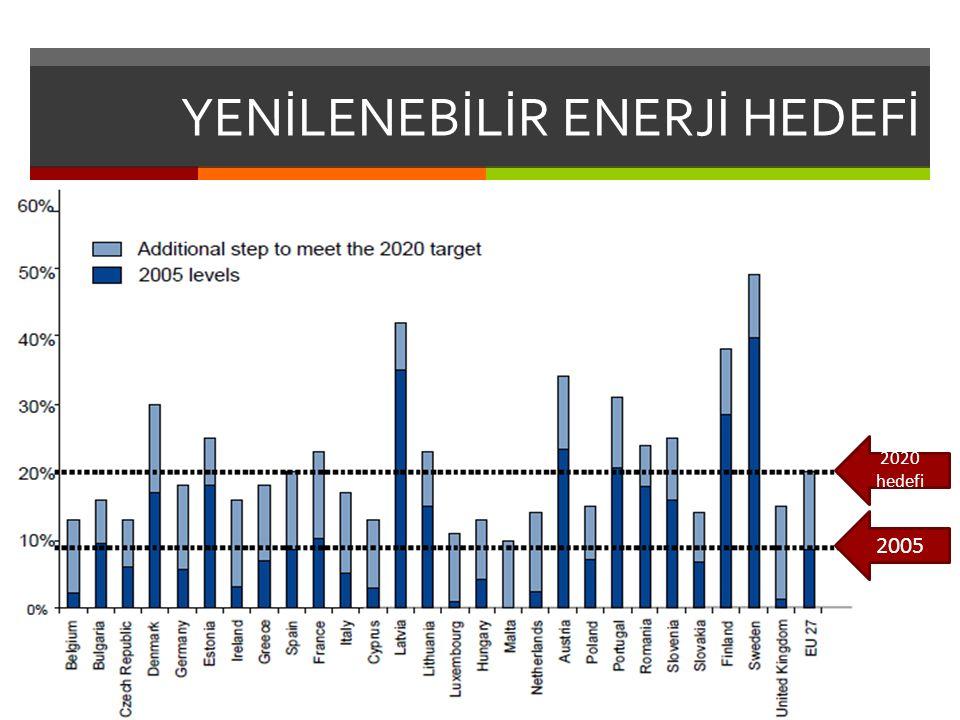 YENİLENEBİLİR ENERJİ HEDEFİ 2020 hedefi 2005