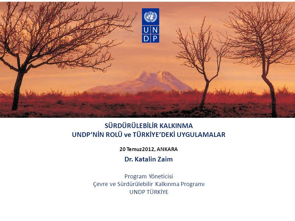 SÜRDÜRÜLEBİLİR KALKINMA UNDP'NİN ROLÜ ve TÜRKİYE'DEKİ UYGULAMALAR 20 Temuz2012, ANKARA Dr.