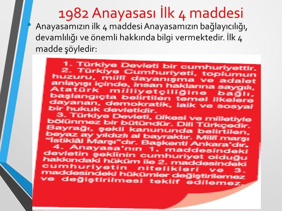 1982 Anayasası İlk 4 maddesi Anayasamızın ilk 4 maddesi Anayasamızın bağlayıcılığı, devamlılığı ve önemli hakkında bilgi vermektedir.