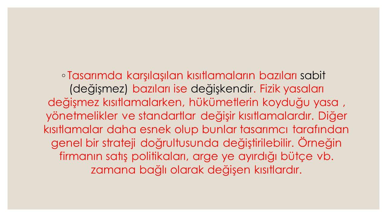 ◦ Tasarımda karşılaşılan kısıtlamaların bazıları sabit (değişmez) bazıları ise değişkendir. Fizik yasaları değişmez kısıtlamalarken, hükümetlerin koyd