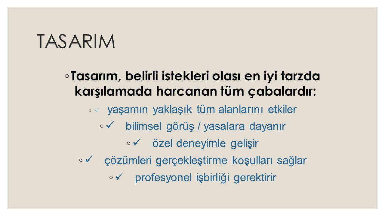 TASARIM ◦ Tasarım, belirli istekleri olası en iyi tarzda karşılamada harcanan tüm çabalardır: ◦  yaşamın yaklaşık tüm alanlarını etkiler ◦  bilimsel