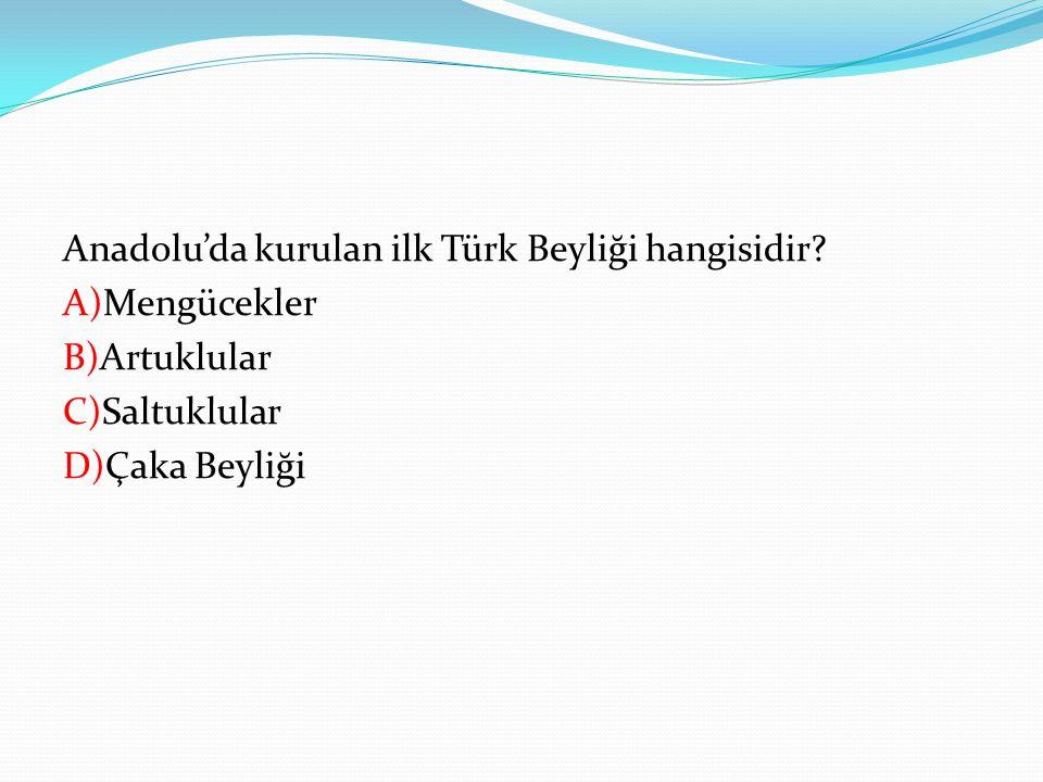 Anadolu'da kurulan ilk Türk Beyliği hangisidir? A)Mengücekler B)Artuklular C)Saltuklular D)Çaka Beyliği