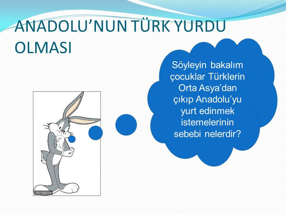 ANADOLU'NUN TÜRK YURDU OLMASI Söyleyin bakalım çocuklar Türklerin Orta Asya'dan çıkıp Anadolu'yu yurt edinmek istemelerinin sebebi nelerdir?