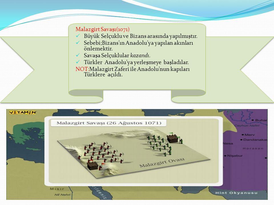 Malazgirt Savaşı(1071) Büyük Selçuklu ve Bizans arasında yapılmıştır. Sebebi;Bizans'ın Anadolu'ya yapılan akınları önlemektir. Savaşa Selçuklular kaza