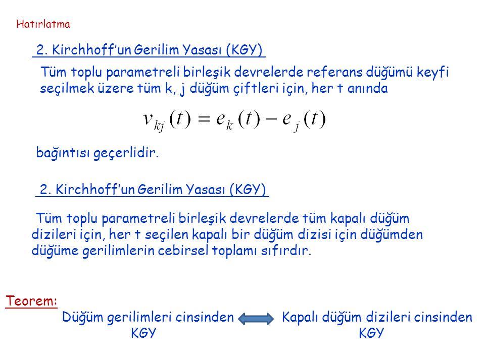 Kirchhoff'un Akım Yasası (KAY) Tüm toplu parametreli devrelerde, tüm Gauss yüzeyleri için her t anında Gauss yüzeyini kesen akımların cebirsel toplamı sıfırdır.