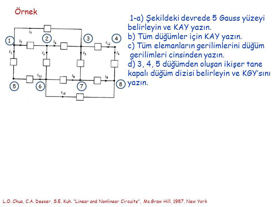Örnek 1-a) Şekildeki devrede 5 Gauss yüzeyi belirleyin ve KAY yazın.