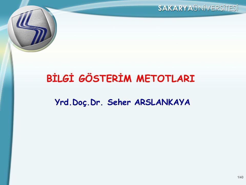 1/40 BİLGİ GÖSTERİM METOTLARI Yrd.Doç.Dr. Seher ARSLANKAYA