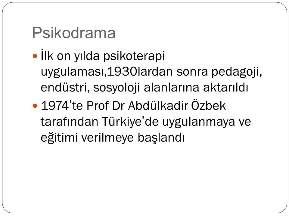 Psikodrama İlk on yılda psikoterapi uygulaması,1930lardan sonra pedagoji, endüstri, sosyoloji alanlarına aktarıldı 1974'te Prof Dr Abdülkadir Özbek tarafından Türkiye'de uygulanmaya ve eğitimi verilmeye başlandı