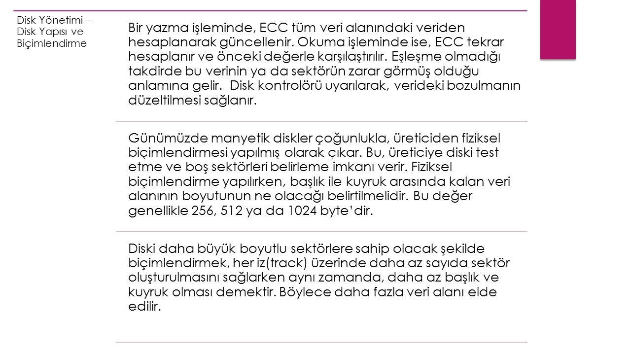 Disk Yönetimi – Disk Yapısı ve Biçimlendirme Bir yazma işleminde, ECC tüm veri alanındaki veriden hesaplanarak güncellenir.