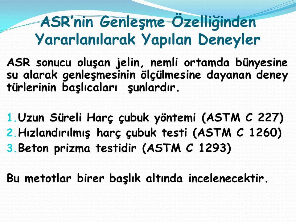 ASR'nin Genleşme Özelliğinden Yararlanılarak Yapılan Deneyler ASR sonucu oluşan jelin, nemli ortamda bünyesine su alarak genleşmesinin ölçülmesine day
