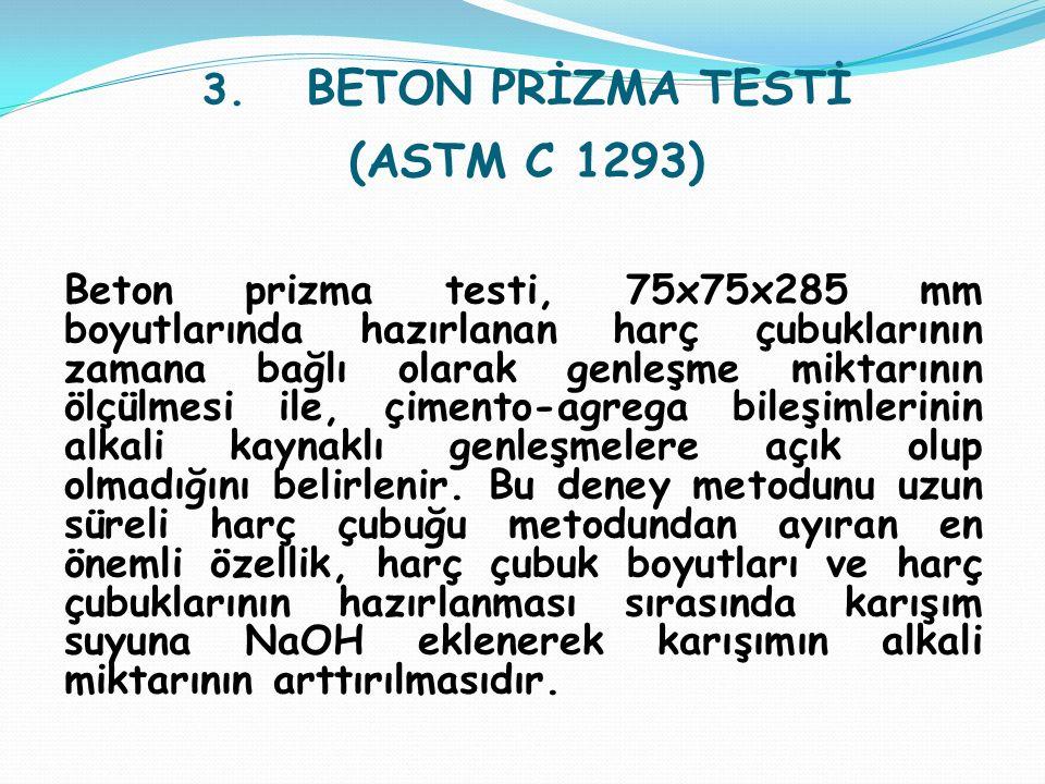 3. BETON PRİZMA TESTİ (ASTM C 1293) Beton prizma testi, 75x75x285 mm boyutlarında hazırlanan harç çubuklarının zamana bağlı olarak genleşme miktarının