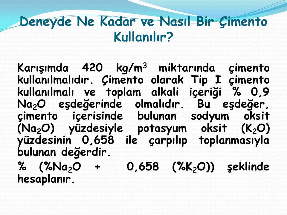 Deneyde Ne Kadar ve Nasıl Bir Çimento Kullanılır? Karışımda 420 kg/m 3 miktarında çimento kullanılmalıdır. Çimento olarak Tip I çimento kullanılmalı v