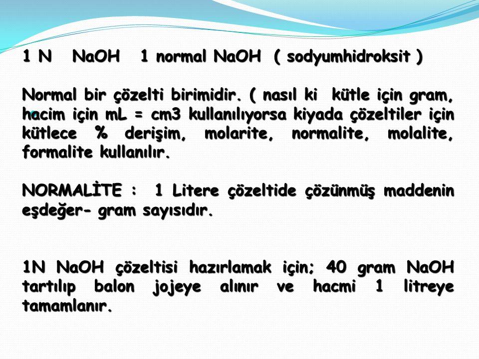 . 1 N NaOH 1 normal NaOH ( sodyumhidroksit ) Normal bir çözelti birimidir. ( nasıl ki kütle için gram, hacim için mL = cm3 kullanılıyorsa kiyada çözel