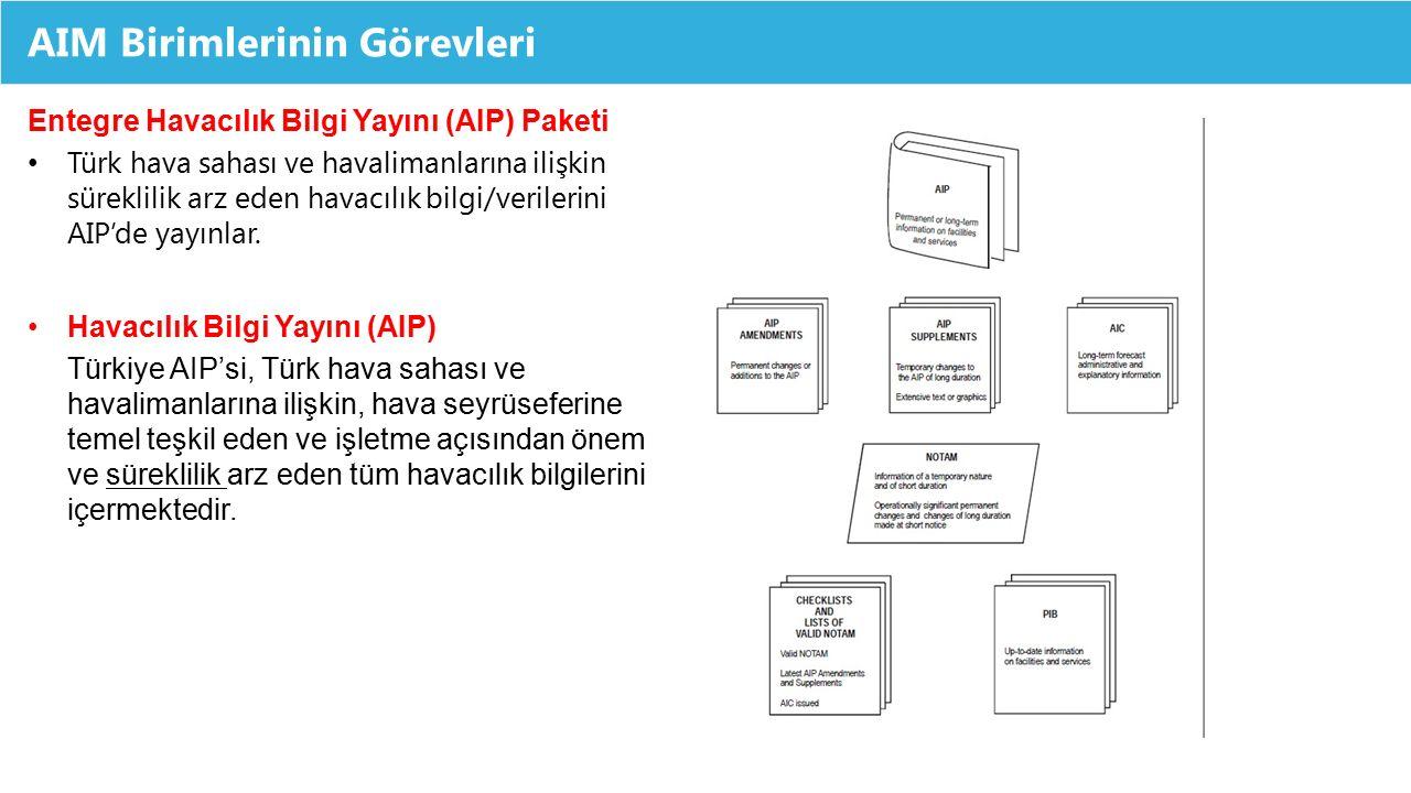 AIM Birimlerinin Görevleri Entegre Havacılık Bilgi Yayını (AIP) Paketi Türk hava sahası ve havalimanlarına ilişkin süreklilik arz eden havacılık bilgi