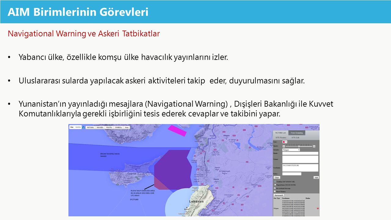 AIM Birimlerinin Görevleri Navigational Warning ve Askeri Tatbikatlar Yabancı ülke, özellikle komşu ülke havacılık yayınlarını izler. Uluslararası sul