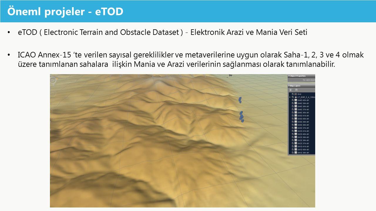 Öneml projeler - eTOD eTOD ( Electronic Terrain and Obstacle Dataset ) - Elektronik Arazi ve Mania Veri Seti ICAO Annex-15 'te verilen sayısal gerekli